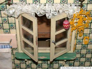 Schönes altes Puppenstuben GEHÄUSE um 1930   mit Fenstern zum