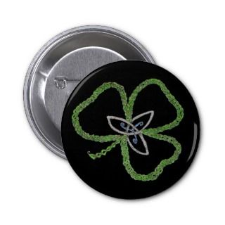 Irish Celtic Shamrock Knot Pinback Buttons