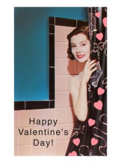 Happy Valentines Day, Lady with Shower Curtain Posters