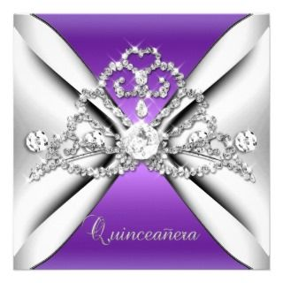 Quinceanera 15 Tiara Purple Silver White Invite