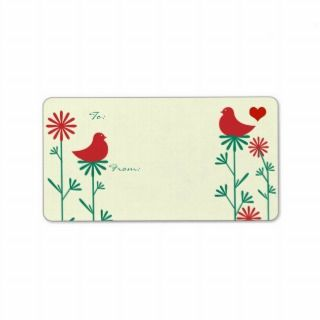 Cute Whimsical Red Birds Christmas Gift Tags Address Label