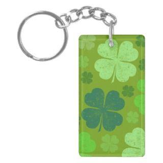 Saint Patrick Day Lucky Green Four Leaf Clovers Acrylic Key Chains