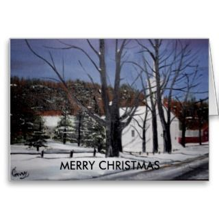 CARD OF MY ORIGINAL OIL PAINTING IN BARNARD, VERMONT, CHURCH, SNOW