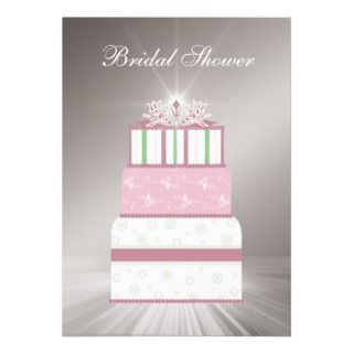 Pink & Green Wedding Cake Bridal Shower Invitation