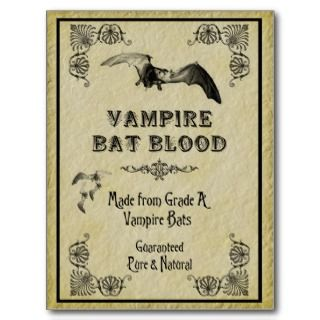 Vampire Bat Blood Halloween Recipe Card Postcards