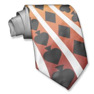 Poker Card Suits Spiral Custom Tie Black Jack