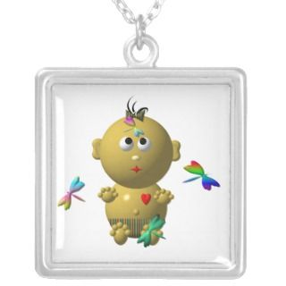 BOUNCING BABY GIRL WITH 4 DRAGONFLIES NECKLACES