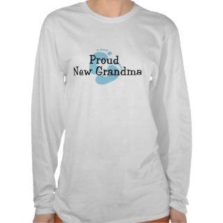 Proud New Grandma Baby Boy Footprints Shirt