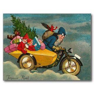 Santa Rides a Motorcycle   Christmas Post Card