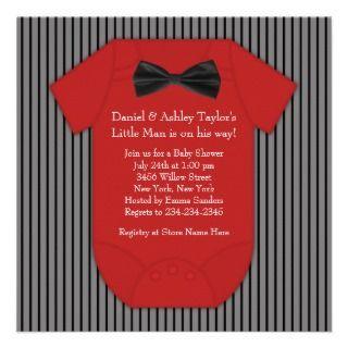 Red Black Pinstripe Baby Shower Invitations