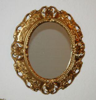 Wandspiegel Spiegel BAROCK Antik 345 W GOLD 45x38 Oval Badspiegel 2