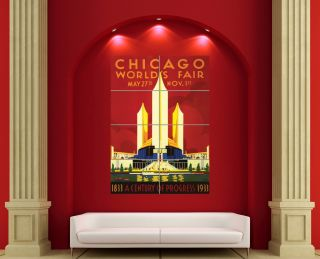 CHICAGO WORLDS FAIR A CENTURY OF PROGRESS 1933 GIANT POSTER PLAKAT