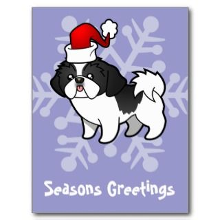 Christmas Shih Tzu (black parti puppy cut) postcards by SugarVsSpice