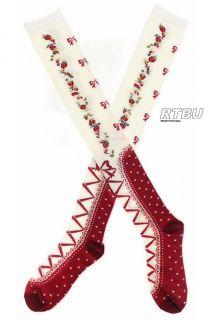 Gothic Lolita Apple Red Strawberry Ribbon Bow Corset Boot Thigh Hi