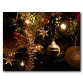 Christmas tree decorations post card