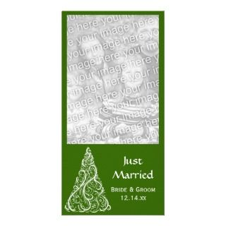 Christmas Tree Just Married Green Photo Card