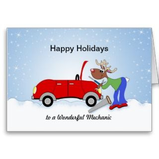 Car Mechanice Reindeer Fixing Red Car Cards
