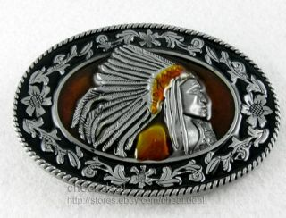 Oval Flower Native American Indians Tribe Chief Head Lady/Boy//Mens