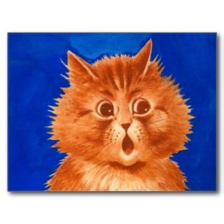 Louis Wain Surprised Orange Cat Post Card