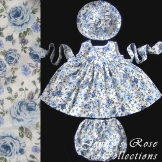Baby Girl Dress + Hat + Bloomers, Blue 0 24 Months #BF1