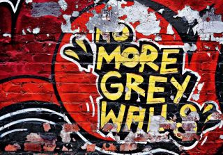Fototapete NO MORE GREY WALLS 366x254 strahlendes Graffiti Backstein