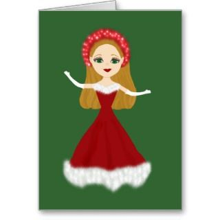 Christmas Princess in Red Evening Gown Greeting Card