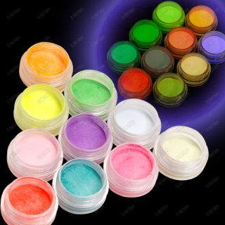 10 Colors Fluorescent Neon Glow in Dark Powder Dust for Acrylic UV Gel