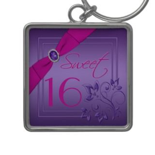Purple and Pink Floral Sweet Sixteen Keychain