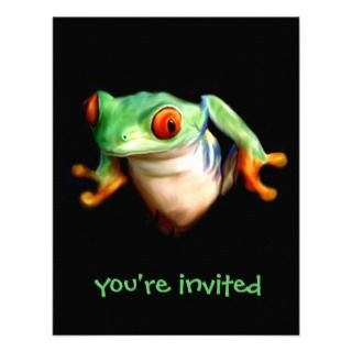 Red Eyed Green Tree Frog Party Invitations