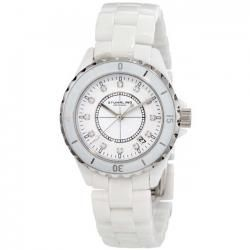 Stuhrling 374 Purity Swarovski Crystal SS Bezel White Ceramic Mens