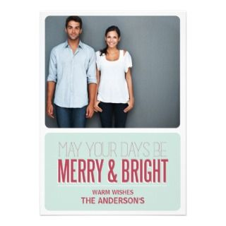 MERRY & BRIGHT  HOLIDAY PHOTO CARD PERSONALIZED INVITATION