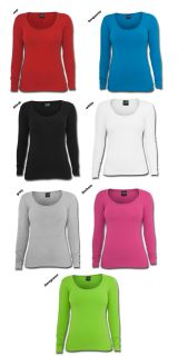 URBAN CLASSICS DAMEN LADIES BASIC LONGSLEEVE T SHIRT TOP SHIRT SLIM