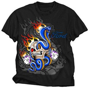 Ford Skull/Flames/Dice Mens T Shirt