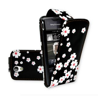 Flower V1 Flip Leather Case Cover For Motorola Motoluxe XT615 + Film