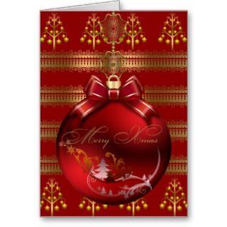 Card Merry Xmas Red Gold Christmas Balls