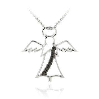 Sterling Silber Schwarzer Diamant Akzent Engel Anhänger