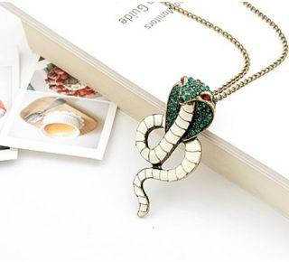 Fashion Enamel Green Crystal Cobra Snake Necklace Animal Pendant