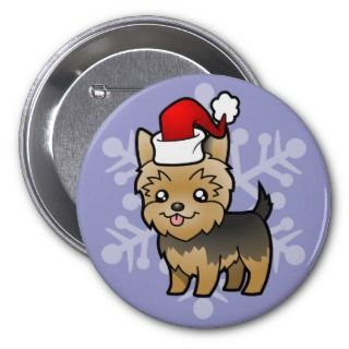 Christmas Yorkie (puppy cut) buttons by SugarVsSpice