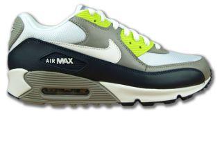 Nike Air Max 90 Grau/Weiss/Anthrazit/Neongrün Glattleder Neu Größen