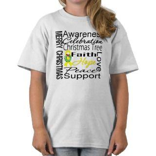 Merry Christmas Bladder Cancer Ribbon Collage Shirt