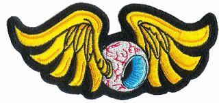 Fliegendes Auge Aufnäher 14x6cm Winged Eyeball Patch Flügel Hot Rod