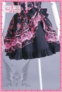 Gothic Lolita Kleid Cosplay Party Kostüm Schwarz Süß