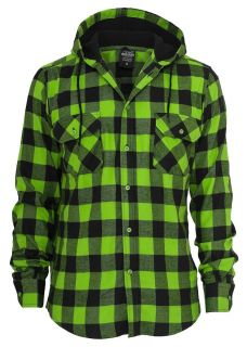 Urban Classics Hemd Hooded Checked Flanell Shirt, TB415 schwarz
