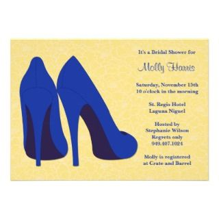 Yellow and Navy Bridal Shower Party Invitation