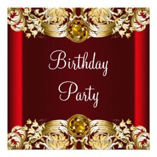 womans red birthday party invitations womans red gold birthday party