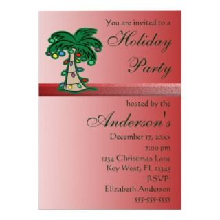 Christmas Palm Tree Holiday Party Invitation