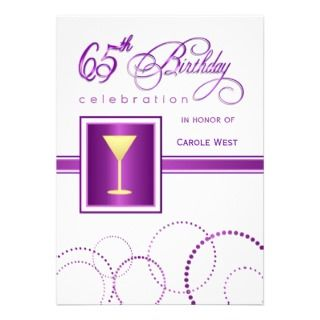 65th Birthday Party Invitations   with Monogram