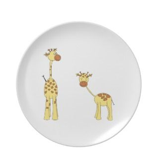 Adult and Baby Giraffe. Cartoon Party Plates