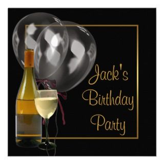 Glass Gold Black Mens Birthday Party invitations by InvitationCentral