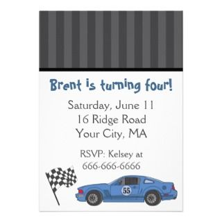 Blue Race Car Party Invitation